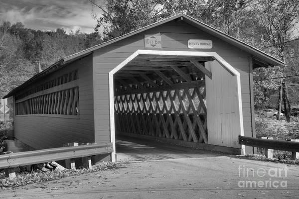 Photograph - Walloomsac River Bridge Black And White by Adam Jewell