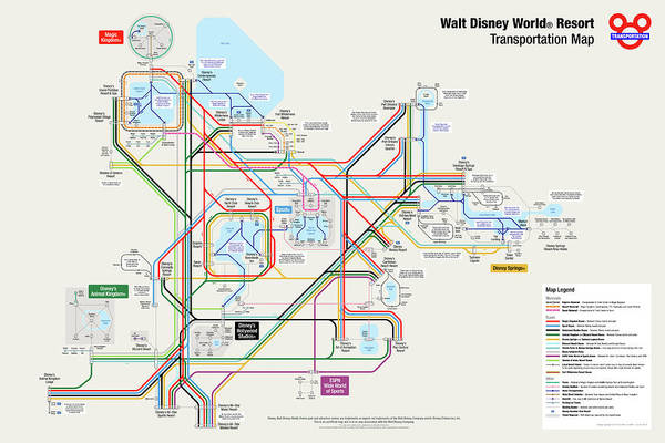 World Map Digital Art - Walt Disney World Resort Transportation Map by Arthur De Wolf