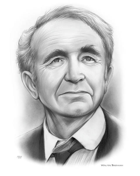 Academy Award Wall Art - Drawing - Walter Brennan 2 by Greg Joens