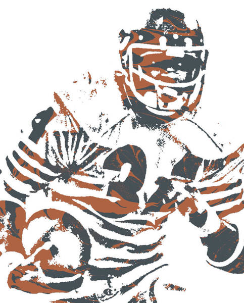 Wall Art - Mixed Media - Walter Payton Chicago Bears Pixel Art 11 by Joe Hamilton