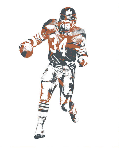 Wall Art - Mixed Media - Walter Payton Chicago Bears Pixel Art 12 by Joe Hamilton