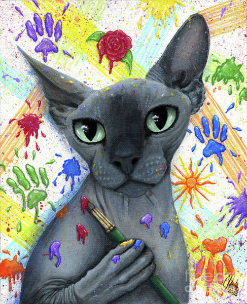 Painting - Walter The Artist - Sphynx Cat by Carrie Hawks