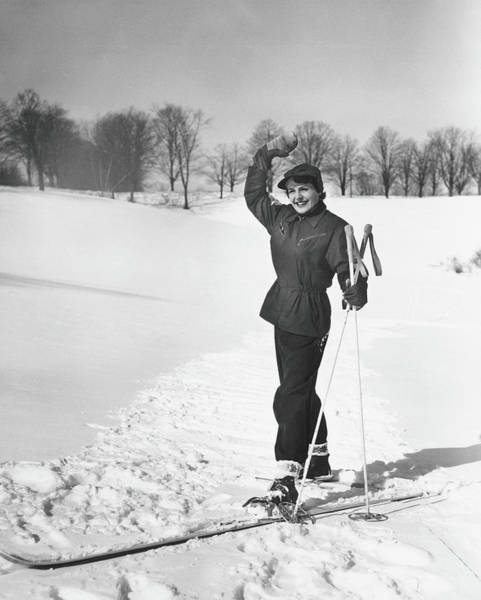 Gesturing Photograph - Wan Cross-country Skiing, Waving, B&w by George Marks