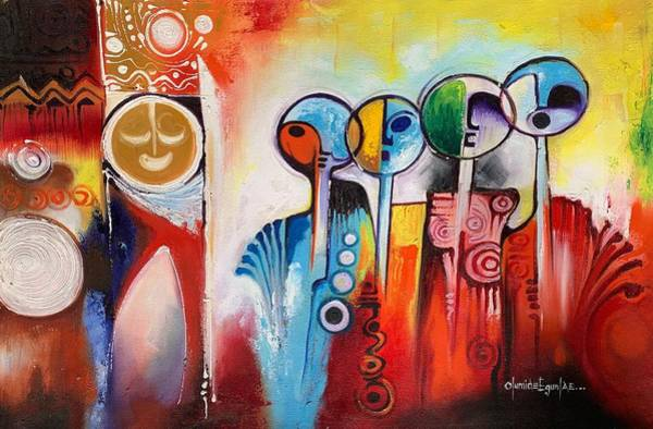 Painting - Wanderers by Olumide Egunlae