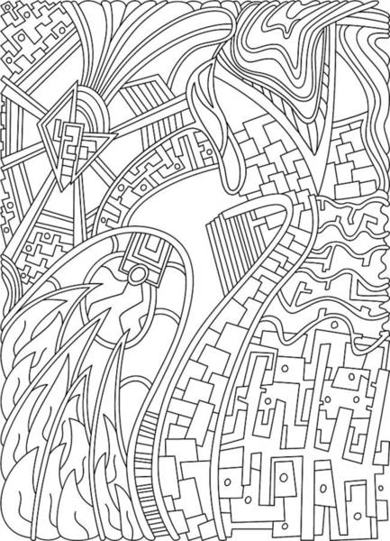 Drawing - Wandering 42 Black And White Line Art by Dream Ripple