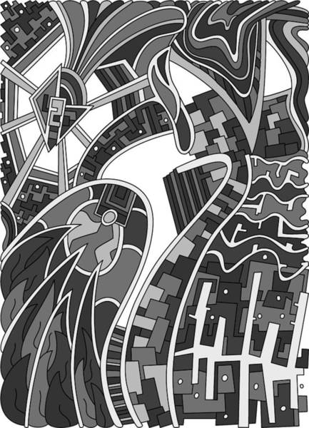 Drawing - Wandering 42 Grayscale by Dream Ripple