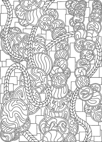 Drawing - Wandering 43 Black And White Line Art by Dream Ripple