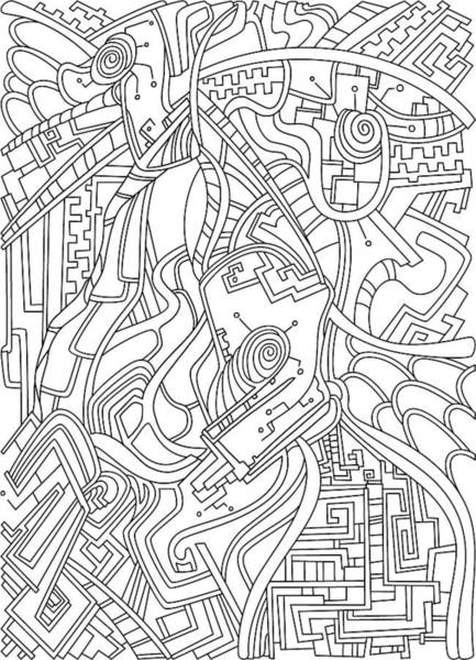 Drawing - Wandering 44 Black And White Line Art by Dream Ripple