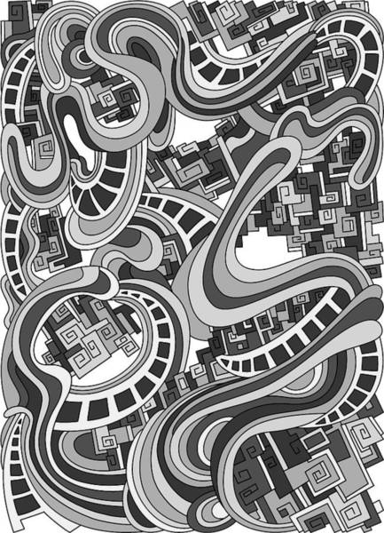 Drawing - Wandering 45 Grayscale by Dream Ripple