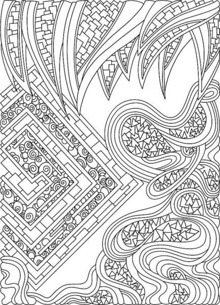 Drawing - Wandering 47 Black And White Line Art by Dream Ripple