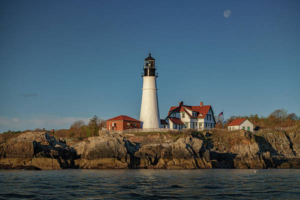 Wall Art - Photograph - Waning Gibbous Over Portland Head Light by Rick Berk