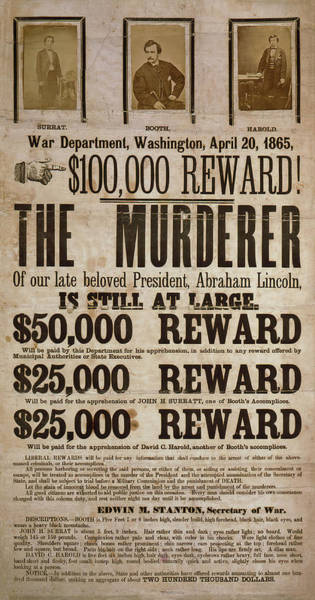Wall Art - Photograph - Wanted .... The Murderer Of Abraham Lincoln 1865 by Daniel Hagerman