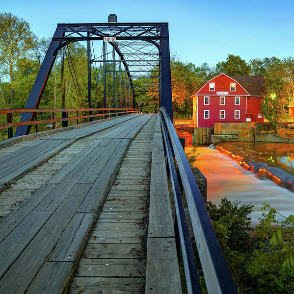 Photograph - War Eagle Mill And Bridge At Dusk 1x1 by Gregory Ballos