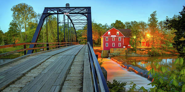 Photograph - War Eagle Mill And Bridge Dusk Panorama by Gregory Ballos