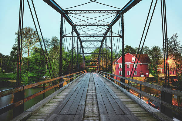 Photograph - War Eagle Mill Bridge Architecture At Dusk by Gregory Ballos