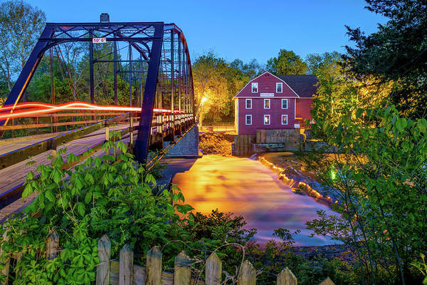 Photograph - War Eagle Mill Lights On The Bridge by Gregory Ballos
