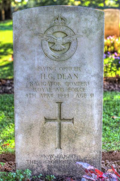 Wall Art - Photograph - War Grave Of Flying Officer H G Dean by David Pyatt