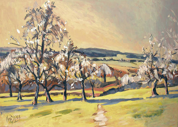 Wall Art - Painting - Warm Spring Light In The Fruit Orchard by Nop Briex