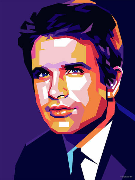 Wall Art - Digital Art - Warren Beatty Pop Art by Stars-on- Art