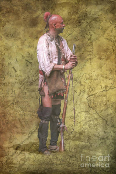 Wall Art - Digital Art - Warrior And Map Of Indian Territory by Randy Steele