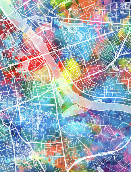 Europe Map Digital Art - Warsaw Map Watercolor by Bekim Art