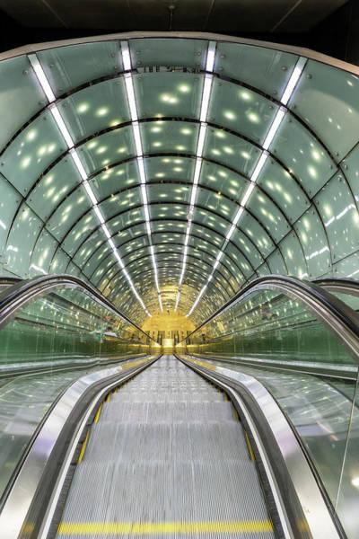 Wall Art - Photograph - Warsaw Metro Escalator Abstract Architecture by Artur Bogacki
