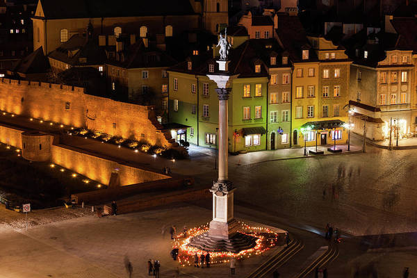 Wall Art - Photograph - Warsaw Old Town At Night In Poland by Artur Bogacki