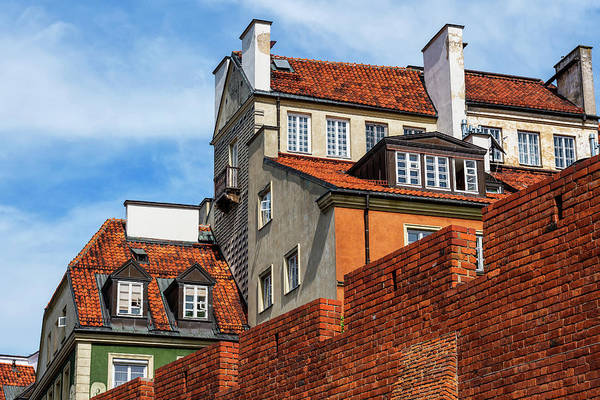 Tenement Photograph - Warsaw Old Town Houses And Wall by Artur Bogacki