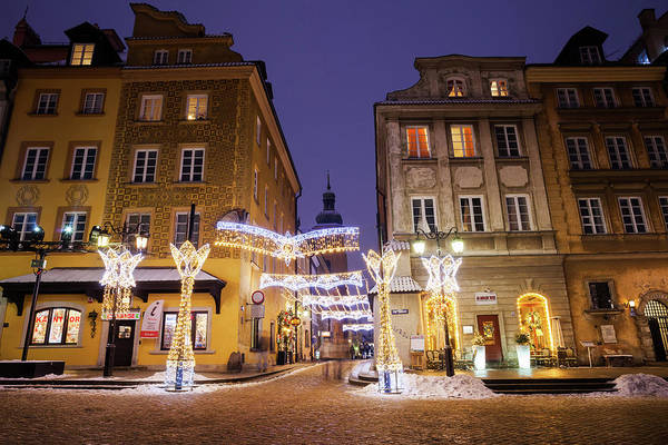 Wall Art - Photograph - Warsaw Old Town Houses At Night by Artur Bogacki