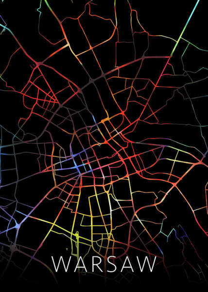 Wall Art - Mixed Media - Warsaw Poland Watercolor City Street Map Dark Mode by Design Turnpike