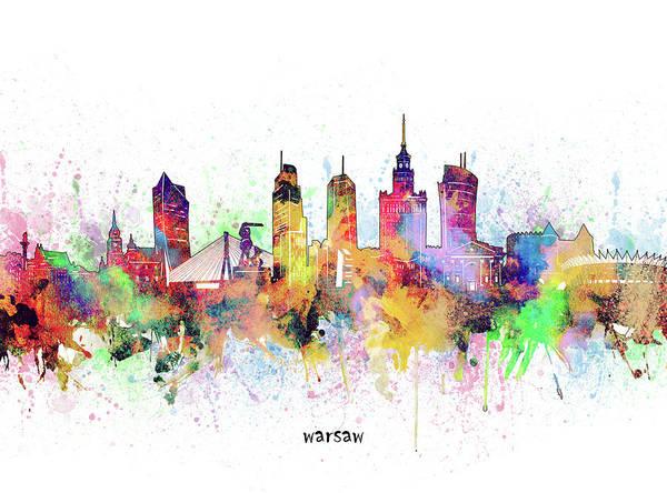 Wall Art - Digital Art - Warsaw Skyline Artistic by Bekim M