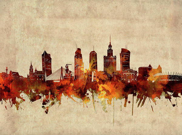 Wall Art - Digital Art - Warsaw Skyline Sepia by Bekim M