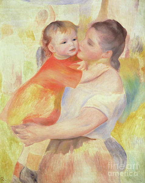 Wall Art - Painting - Washerwoman And Child, 1887 by Pierre Auguste Renoir