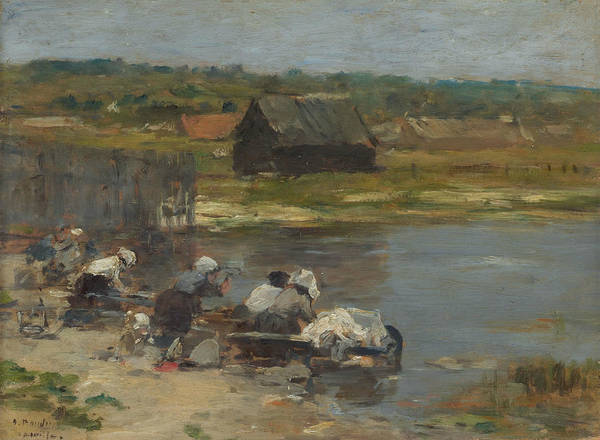 Wall Art - Painting - Washerwomen At The Edge Of The Pond by Eugene Boudin