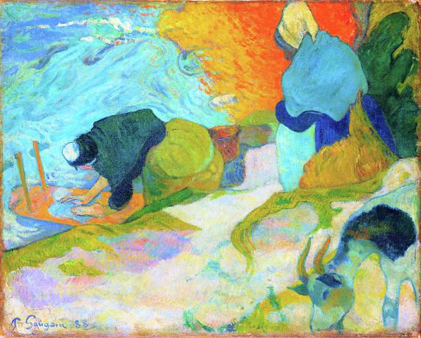 Wall Art - Painting - Washerwomen In Arles - Digital Remastered Edition by Paul Gauguin