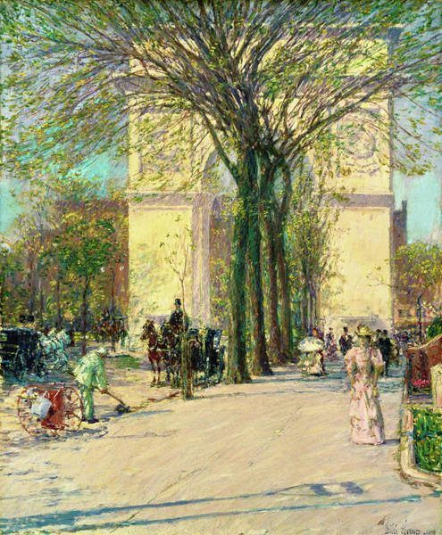 Avenue Painting - Washington Arch, Spring - Digital Remastered Edition by Frederick Childe Hassam