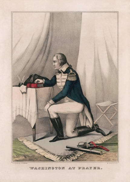 Wall Art - Drawing - Washington At Prayer - Vintage Lithograph - Currier And Ives by War Is Hell Store