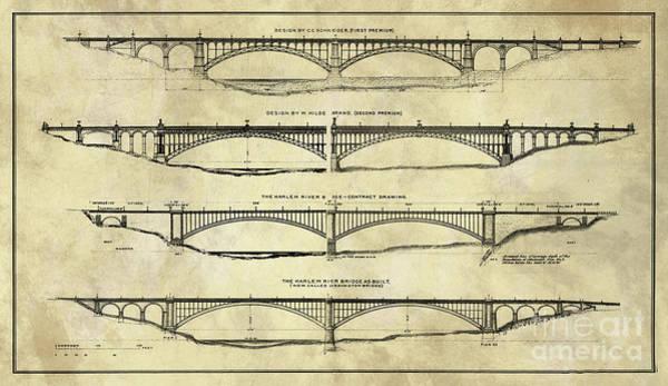 Wall Art - Painting - Washington Bridge Proposal Blueprint Plans Rustic Industrial by Tina Lavoie