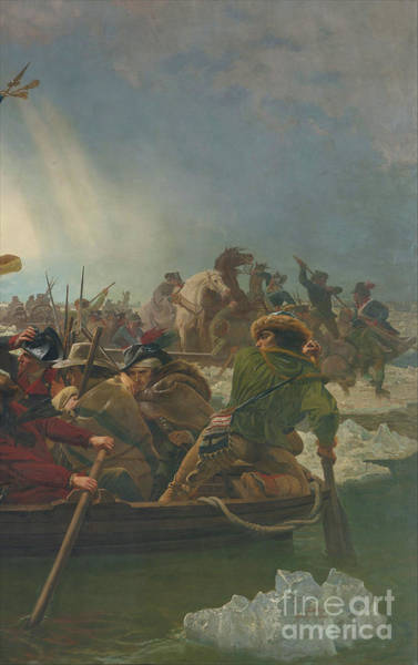 Up North Painting - Washington Crossing The Delaware River, 25th December 1776 Detail, 1851 by Emanuel Gottlieb Leutze