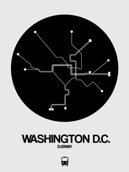 C Wall Art - Digital Art - Washington D.c. Black Subway Map by Naxart Studio