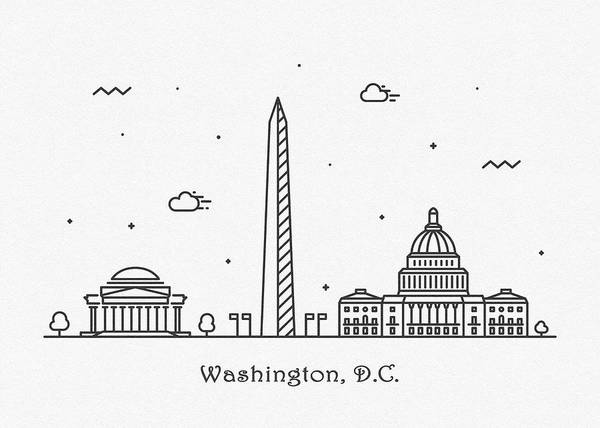 Drawing - Washington, D.c. Cityscape Travel Poster by Inspirowl Design