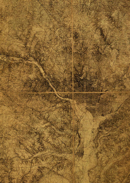 Wall Art - Mixed Media - Washington Dc District Of Columbia Topography Vintage Map 1915 by Design Turnpike