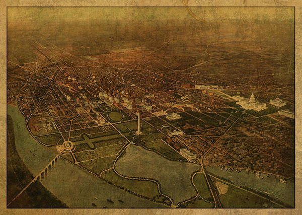 Wall Art - Mixed Media - Washington Dc District Of Columbia Vintage City Street Map Birds Eye View 1916 by Design Turnpike