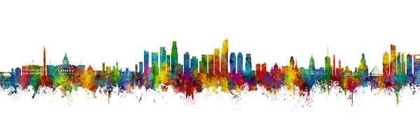 Wall Art - Digital Art - Washington Dc, Los Angeles And Buenos Aires Skyline Mashup by Michael Tompsett