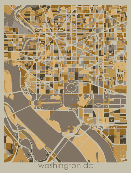 Wall Art - Digital Art - Washington Dc Map Retro 4 by Bekim M