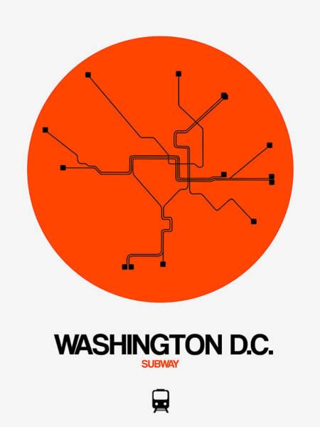 C Wall Art - Digital Art - Washington D.c. Orange Subway Map by Naxart Studio