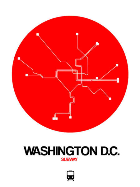 C Wall Art - Digital Art - Washington D.c. Red Subway Map by Naxart Studio