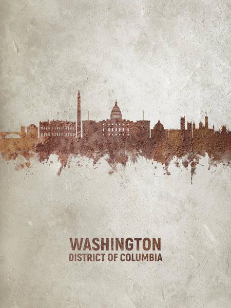 Wall Art - Digital Art - Washington Dc Rust Skyline by Michael Tompsett