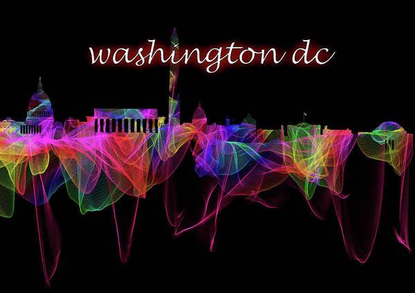 Photograph - Washington Dc Skyline Art With Script by Debra and Dave Vanderlaan