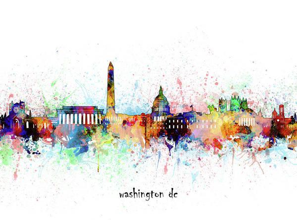 Wall Art - Digital Art - Washington Dc Skyline Artistic by Bekim M